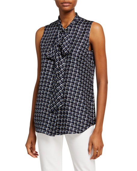 Lafayette 148 New York Joel Monogram Link Print Sleeveless Tie-Neck Twill Blouse