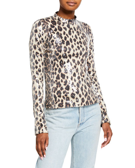 Image 2 of 3: A.L.C. Marshall Sequined Leopard-Print Top