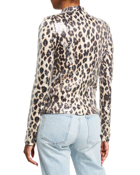 Image 3 of 3: A.L.C. Marshall Sequined Leopard-Print Top