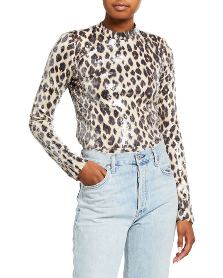 Image 1 of 3: A.L.C. Marshall Sequined Leopard-Print Top