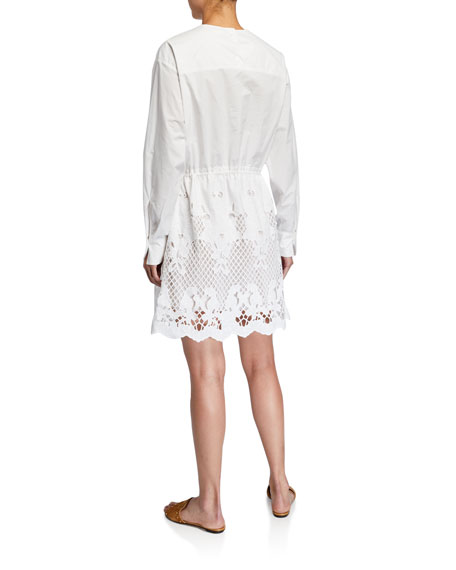 Image 2 of 2: See by Chloe Crewneck Poplin Dress w/ Lace Inset