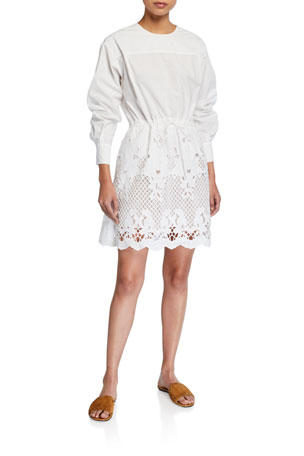 See by Chloe Crewneck Poplin Dress w/ Lace Inset