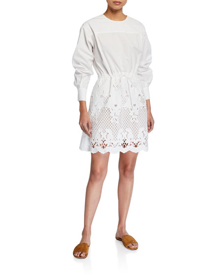 Image 1 of 2: See by Chloe Crewneck Poplin Dress w/ Lace Inset