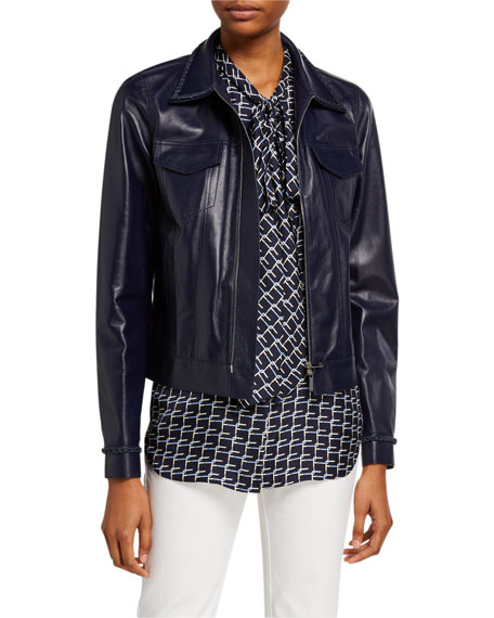 Lafayette 148 New York Destiny Plonge Lambskin Zip Front Jacket w/ Braided Trim