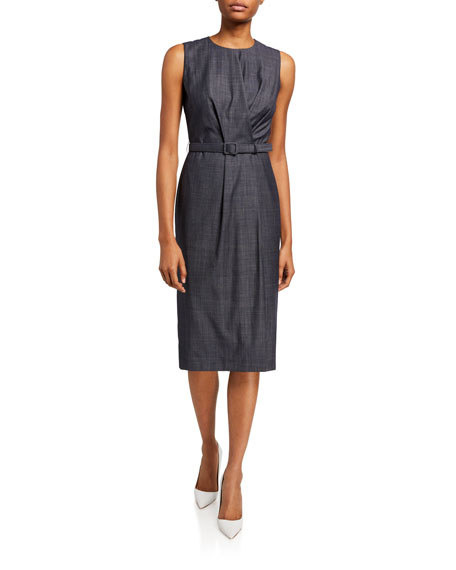 Lafayette 148 New York Jude Fusion Suiting Sheath Dress with Belt