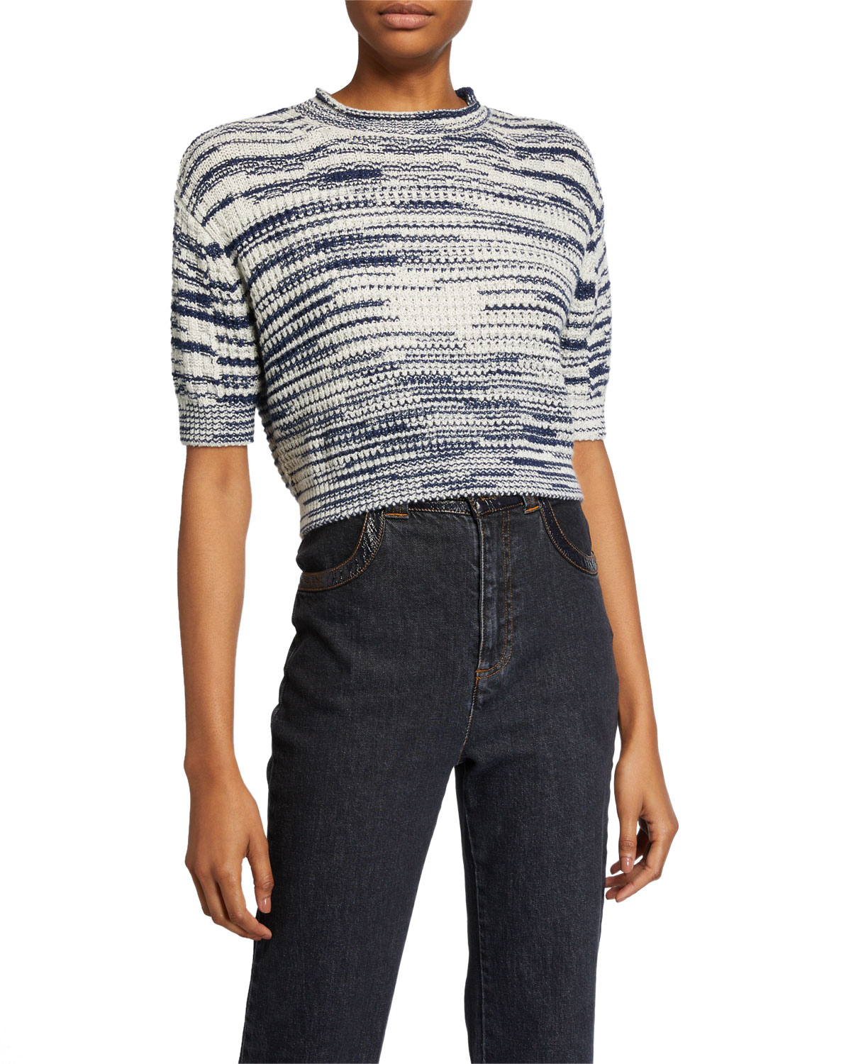 See by Chloe Cropped Wool-Blend Pullover