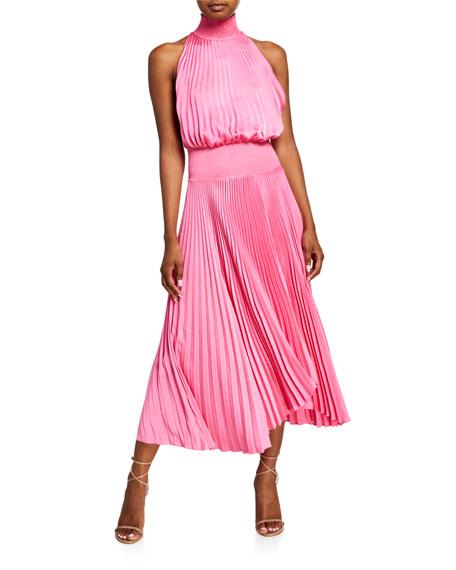 A.L.C. Renzo Pleated Halter Midi Dress