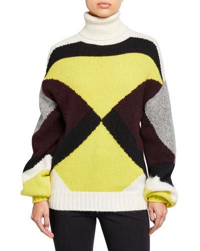 Angelou Colorblock Turtleneck Sweater