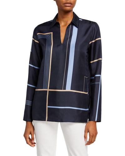 Nellie Equilibrium Print Long-Sleeve Silk Blouse