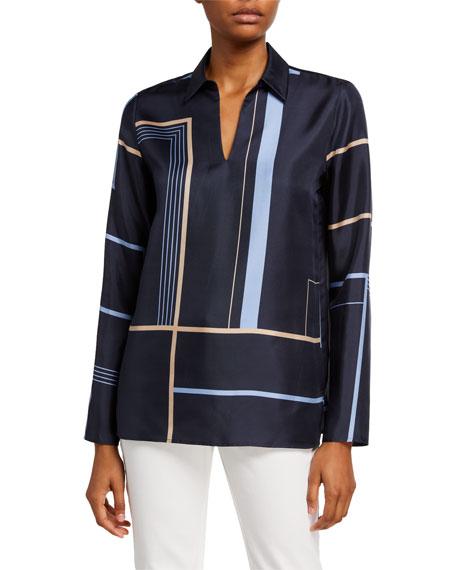 Lafayette 148 New York Nellie Equilibrium Print Long-Sleeve Silk Blouse