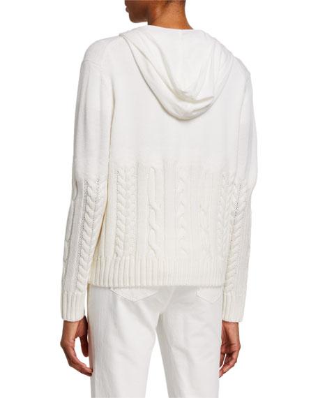 Lafayette 148 New York Fine Gauge Merino Wool Cable Knit Hoodie Sweater