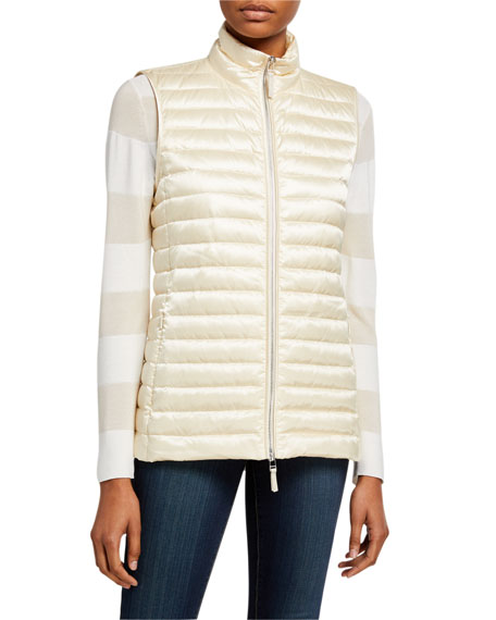 Lafayette 148 New York Scout Zip-Front Quilted Satin Tech Vest