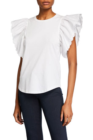 See by Chloe Cotton Ruffled Cap-Sleeves Top