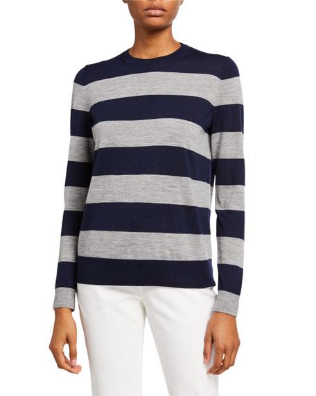 Lafayette 148 New York Striped Crewneck Fine Gauge Wool Sweater