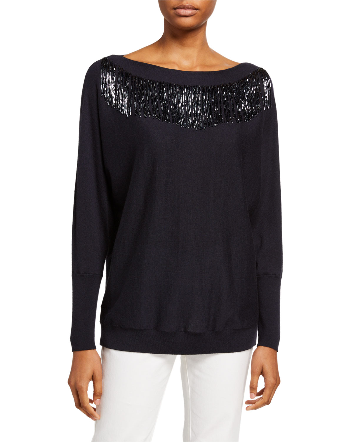 Bead Embellished Luxurious Cashmere Blend Dolman Sweater by Lafayette 148 New York