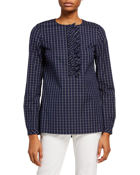 Lafayette 148 New York Bradford Cross Hatch Stretch Cotton Blouse
