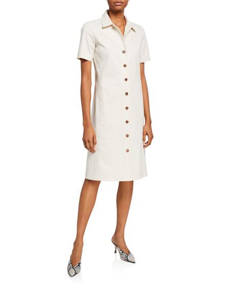 Lafayette 148 New York Kylie Button-Front Fundamental Bi Stretch Dress