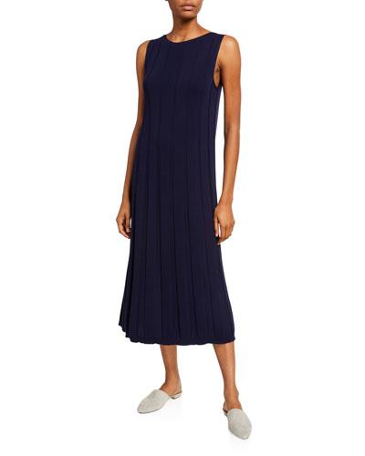Sleeveless Matte Crepe Rib A-Line Dress