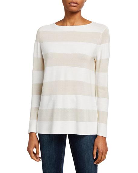 Lafayette 148 New York Striped Matte Crepe Bateau-Neck Sweater