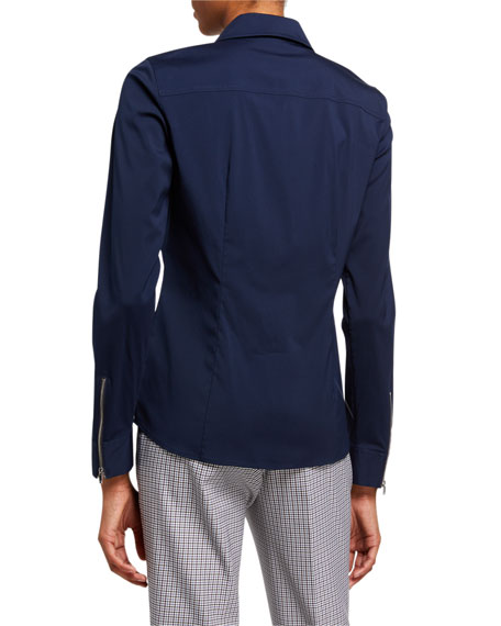 Lafayette 148 New York Connor Zip Front Italian Stretch Cotton Blouse