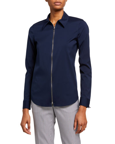Connor Zip Front Italian Stretch Cotton Blouse
