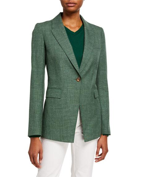 Lafayette 148 New York Heather Marled Cloth One-Button Jacket