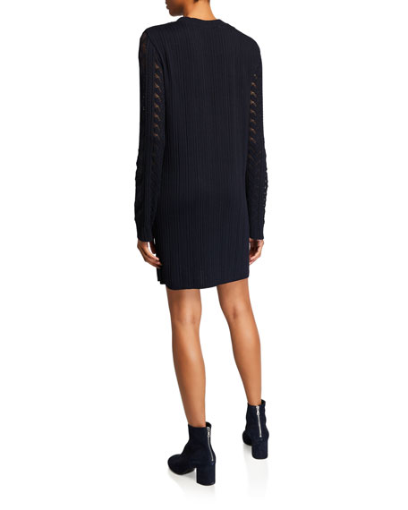 See by Chloe Ribbed Long-Sleeve Shift Dress