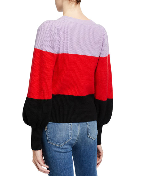 Image 2 of 2: A.L.C. Sammy Colorblock Cashmere Sweater