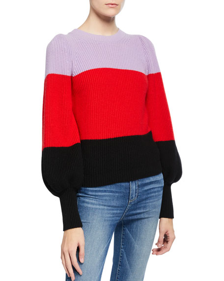 Image 1 of 2: A.L.C. Sammy Colorblock Cashmere Sweater