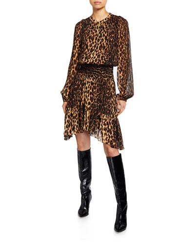 Sidney Leopard-Print Asymmetrical Dress