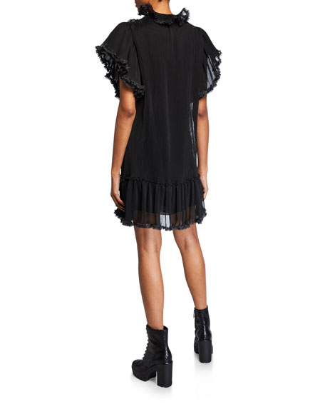 Image 2 of 2: See by Chloe High-Neck Ruffle Shift Dress