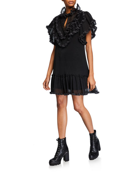 Image 1 of 2: See by Chloe High-Neck Ruffle Shift Dress