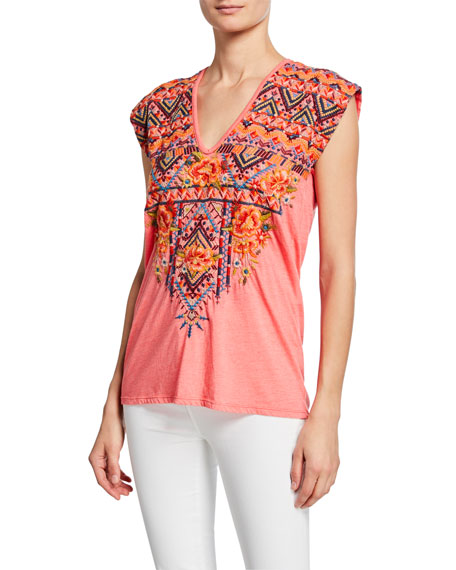 Johnny Was Plus Size Sentrie Scoop-Neck Embroidered Top