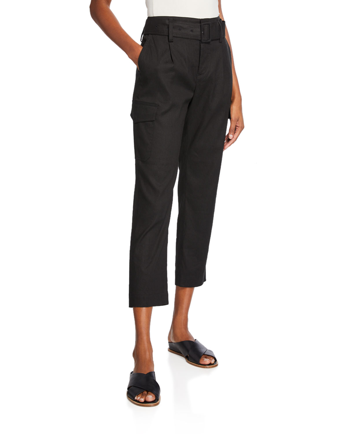 belted-linen-straight-leg-pants by vince