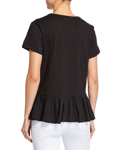Lisa Todd Pleats Please Short-Sleeve Peplum Slub Tee