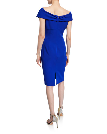Trina Turk Imperative Portrait-Neck Short-Sleeve Crepe Sheath Dress