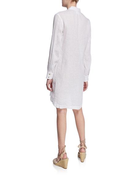 Finley Henri Long-Sleeve Washed Linen Dress w/ Raw-Edge Trim