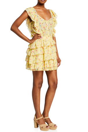 LoveShackFancy Phyllis Floral Print Flutter-Sleeve Mini Dress