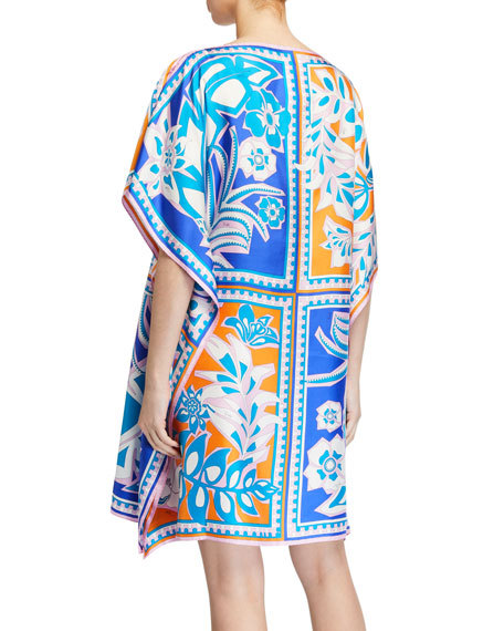 Emilio Pucci Floral-Print Short Silk Dress