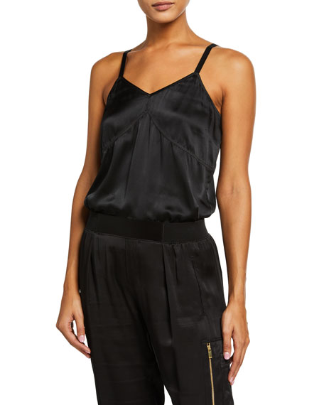 Image 1 of 3: ATM Anthony Thomas Melillo Silk V-Neck Cami Bodysuit