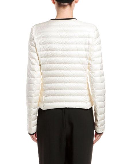 Moncler Baillet Contrast-Trim Puffer Coat, White