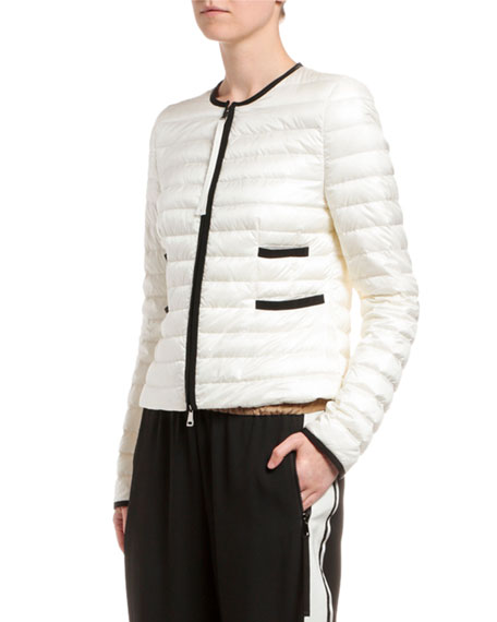Image 3 of 3: Moncler Baillet Contrast-Trim Puffer Coat, White