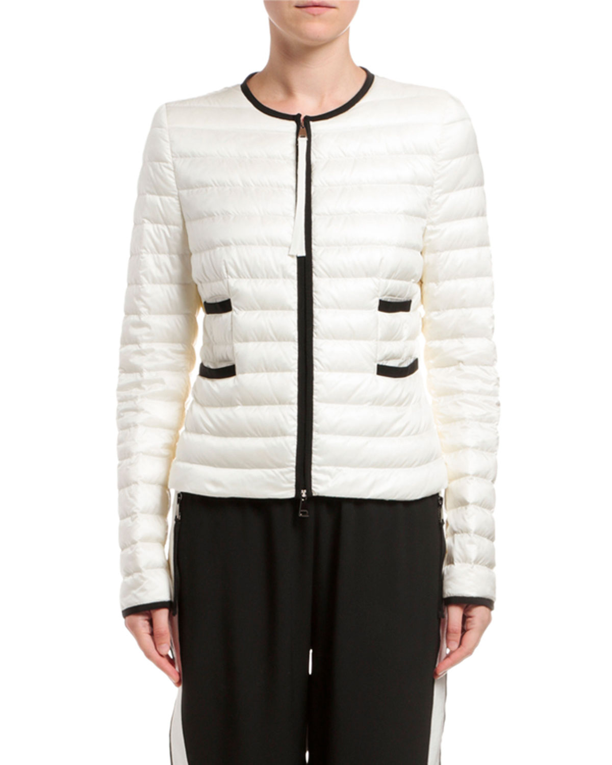 Moncler Baillet Contrast-Trim Puffer Coat, White