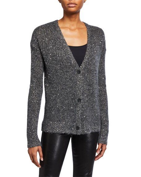 Image 2 of 3: ATM Anthony Thomas Melillo Sequined V-Neck Cardigan