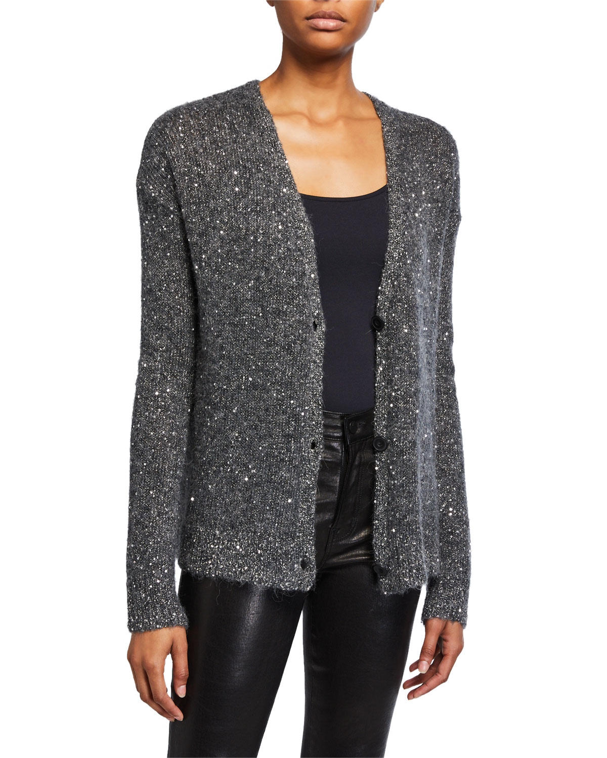 ATM Anthony Thomas Melillo Sequined V-Neck Cardigan