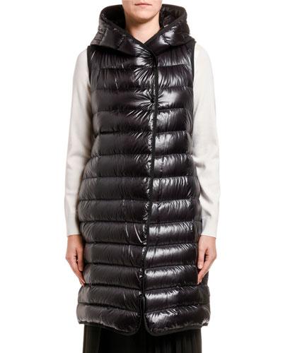 Noisette Long Puffer Vest w/ Hood