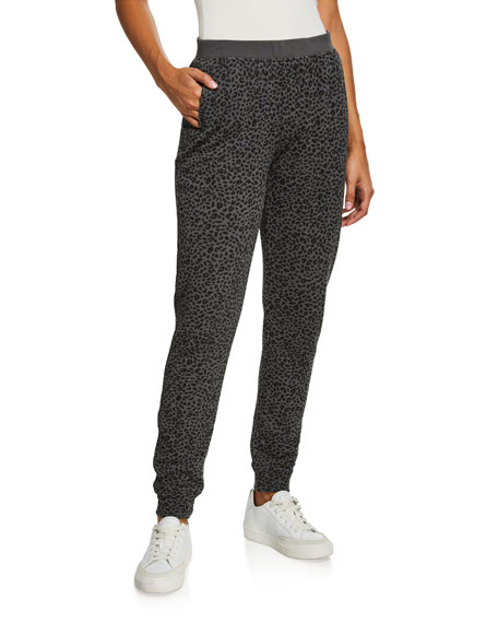 ATM Anthony Thomas Melillo French Terry Animal-Print Pull-On Pants