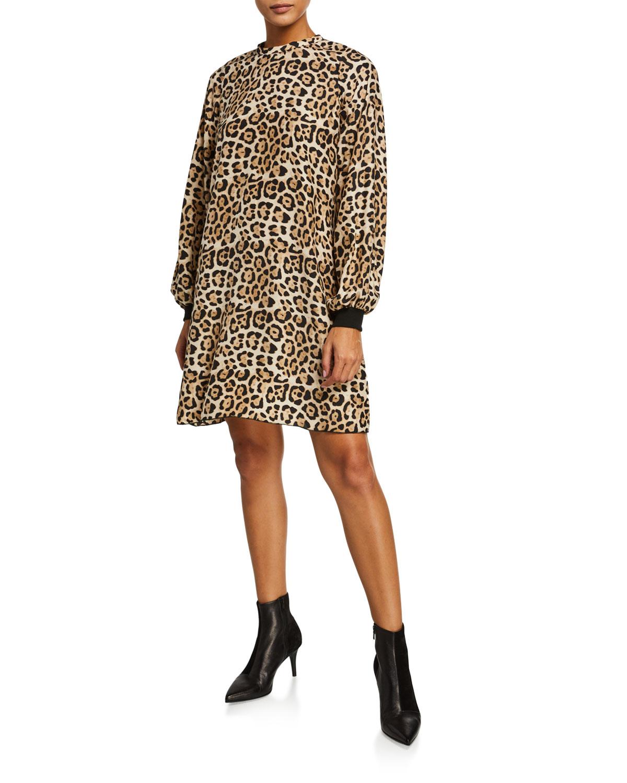 ATM Anthony Thomas Melillo Leopard-Print Silk Charmeuse Bishop-Sleeve Dress