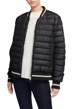 Moncler Or Channel-Quilt Bomber Jacket