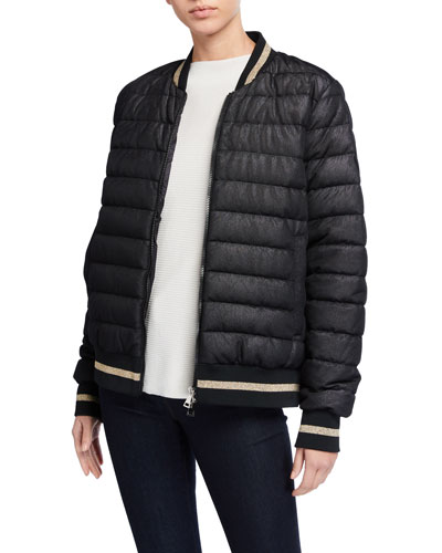 Channel-Quilt Bomber Jacket